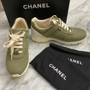 EUC w box Chanel Olive green canvas sneakers